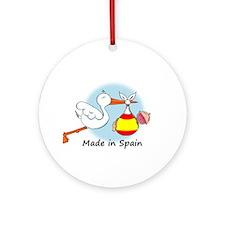 Stork Baby Spain Ornament (Round)