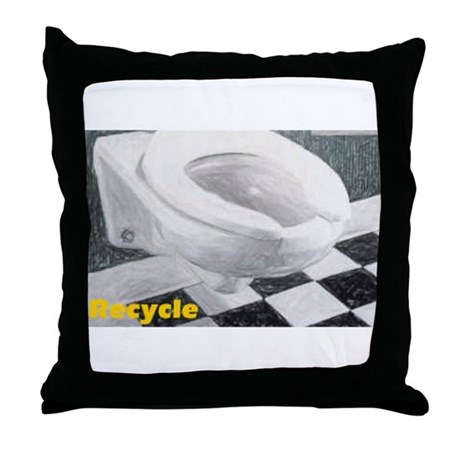 Recycle Or Throw Away Pillows : Toilet Recycle Throw Pillow by blithestuff