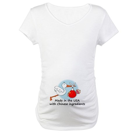 Stork Baby China USA Maternity T-Shirt