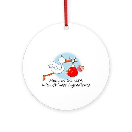 Stork Baby China USA Ornament (Round)