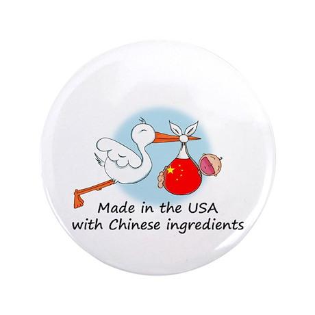 """Stork Baby China USA 3.5"""" Button"""