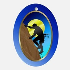 Rock-Climbing Oval Ornament