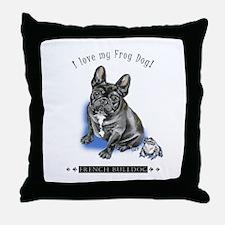 Frog Dog (Brindle Boy) Throw Pillow