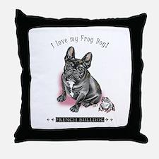 Frog Dog (Brindle Girl) Throw Pillow