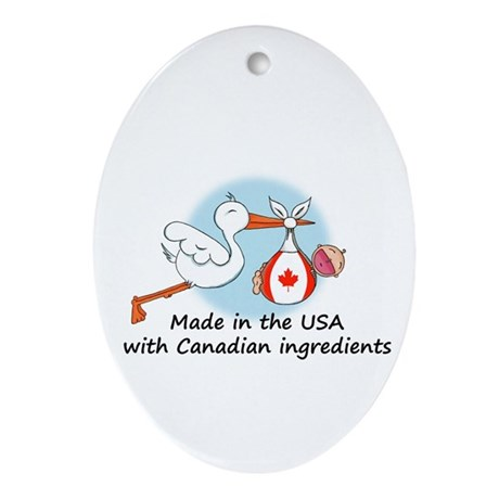 Stork Baby Canada USA Oval Ornament