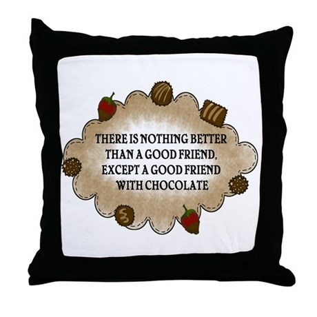Friends With Chocolate Throw Pillow