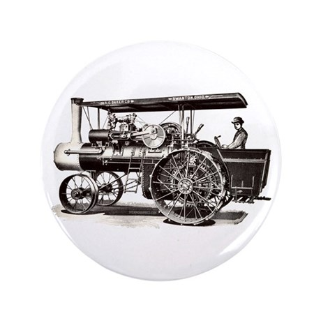 "Baker Steam Tractor - 3.5"" Button"