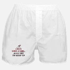 Run like a girl red Boxer Shorts