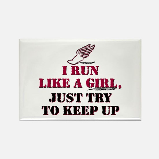 Run like a girl red Rectangle Magnet