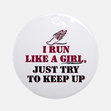 Run like a girl red Ornament (Round)