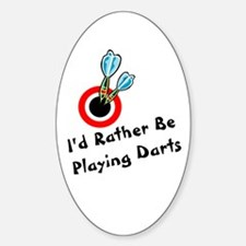 Playing Darts Oval Decal