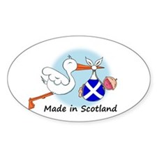 Stork Baby Scotland Oval Decal