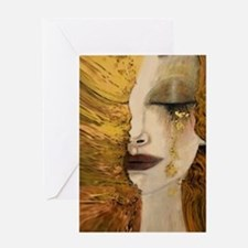 Woman with a Golden Tear Greeting Cards