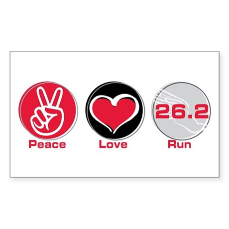 Peace Love Run 26.2 Sticker (Rectangle 10 pk)