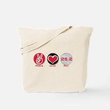 Peace Love Run 26.2 Tote Bag