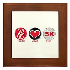 Peace Love Run 5K Framed Tile