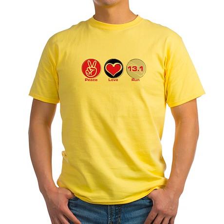 Peace Love Run 13.1 Yellow T-Shirt
