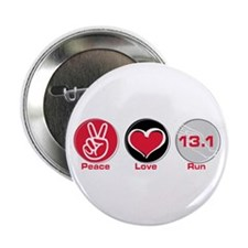 "Peace Love Run 13.1 2.25"" Button"