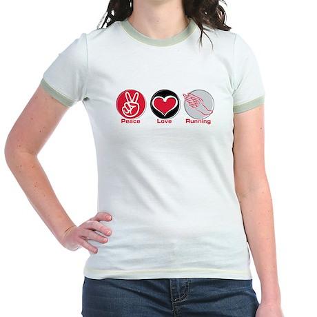 Peace Love Running Jr. Ringer T-Shirt