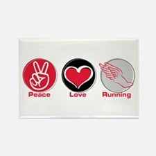 Peace Love Running Rectangle Magnet