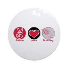 Peace Love Running Ornament (Round)