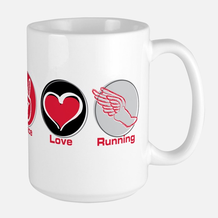 Peace Love Running Large Mug