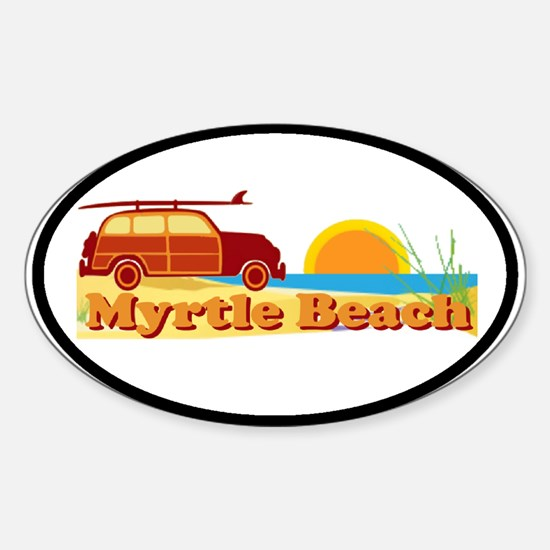 Myrtle Beach SC - Surfing Design Oval Decal