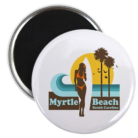 Myrtle Beach SC - Surfing Design Magnet