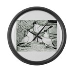 Helmet Pigeons Large Wall Clock