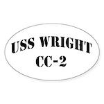 USS WRIGHT Oval Sticker (50 pk)