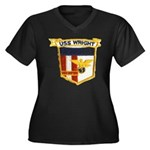 USS WRIGHT Women's Plus Size V-Neck Dark T-Shirt