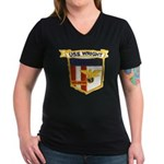 USS WRIGHT Women's V-Neck Dark T-Shirt