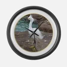 Helaine's Egret 2 Large Wall Clock