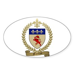 MOREAU Family Crest Oval Sticker (10 pk)