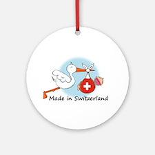 Stork Baby Switzerland Ornament (Round)