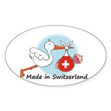 Stork Baby Switzerland Oval Decal