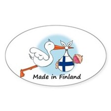 Stork Baby Finland Oval Decal