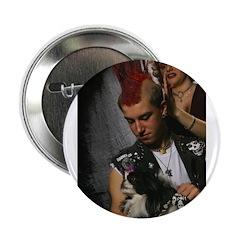 Hairdresser Mohawk & Dog Button