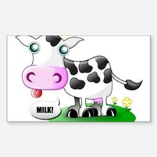 Cute Cow Milk Rectangle Decal