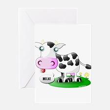 Cute Cow Milk Greeting Card