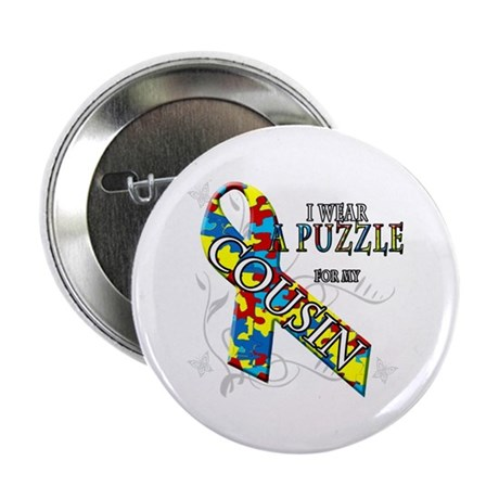 "I Wear A Puzzle for my Cousin 2.25"" Button"