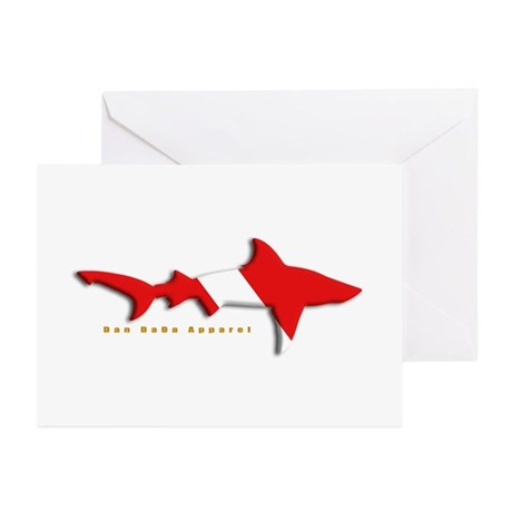 Shark Diving Flag Greeting Cards (Pk of 20)