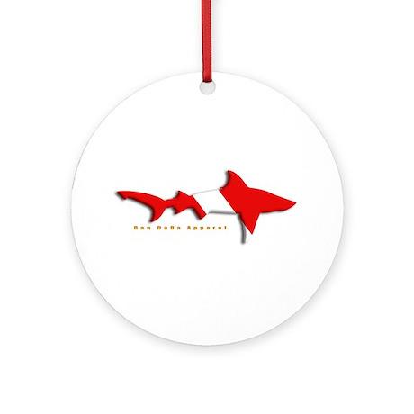 Shark Diving Flag Ornament (Round)
