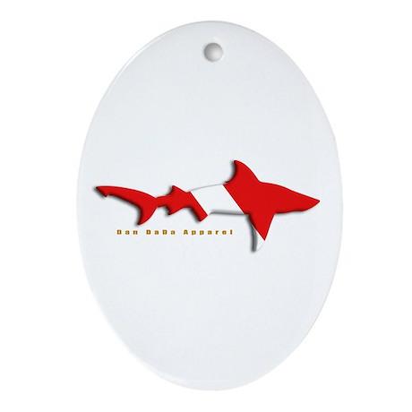 Shark Diving Flag Oval Ornament