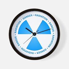 Blue Radiation Symbol Wall Clock