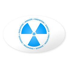 Blue Radiation Symbol Oval Decal
