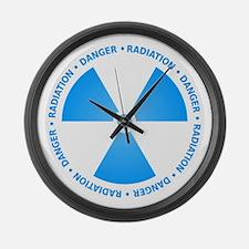 Blue Radiation Symbol Large Wall Clock