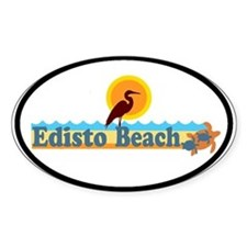 Edisto Beach SC - Beach Design Oval Decal