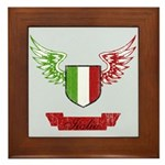 Vintage Italia Flag Wings Framed Tile