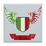 Vintage Italia Flag Wings Tile Coaster